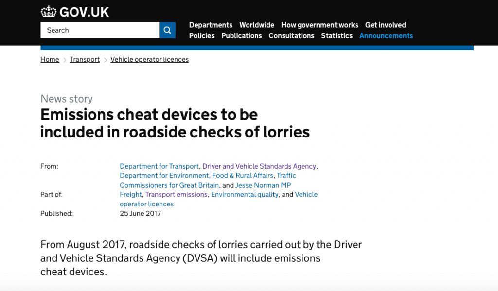 DVSA to check Emissions cheats